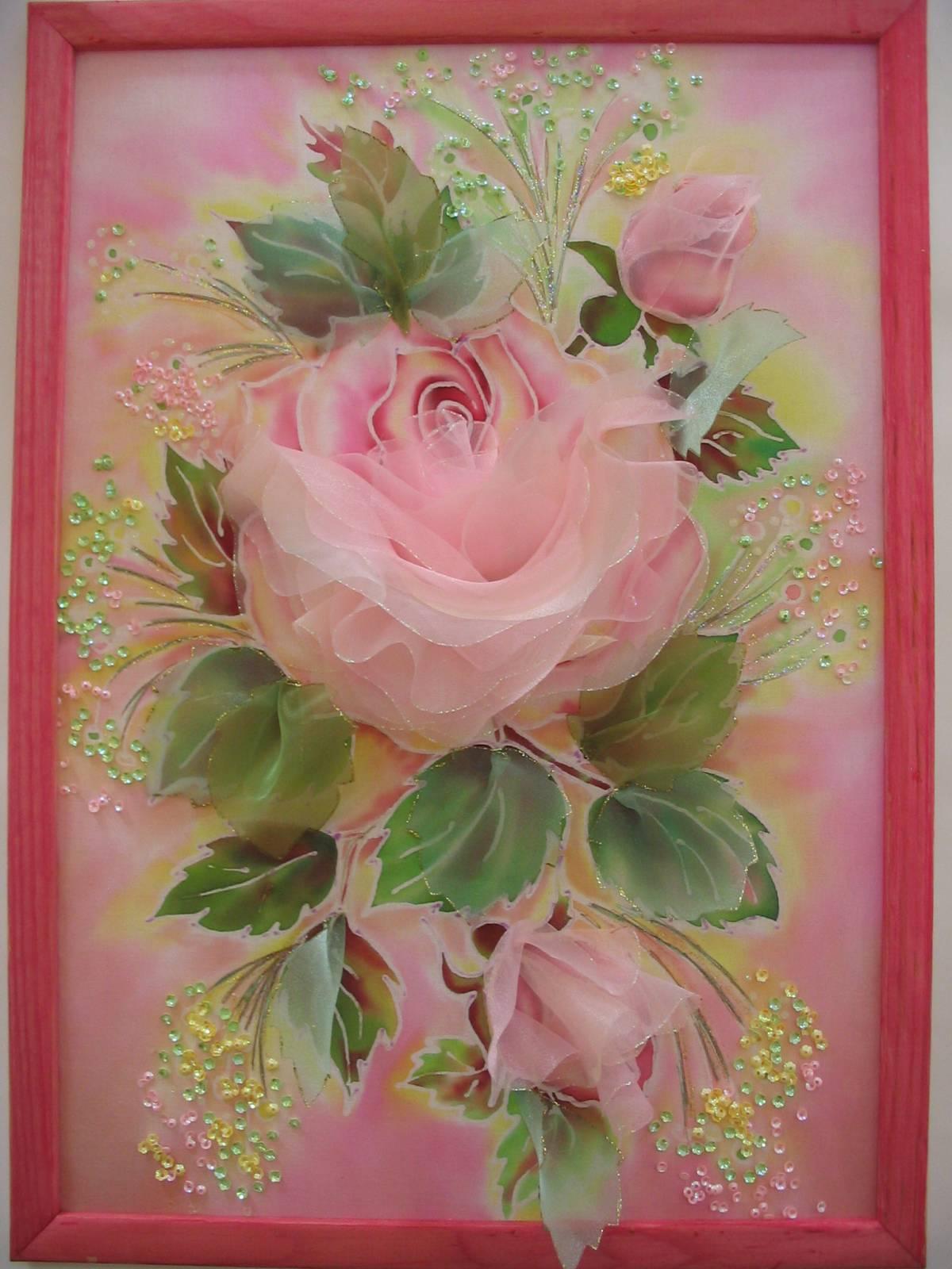 Картина из цветов из ткани своими руками 788
